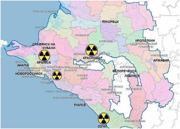 Карта потенциально опасных мест по радиации